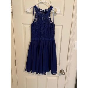 Blue lace top dress